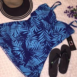 NEW Shore Shapes Plus 18 Palm Leaf Print Swimdress